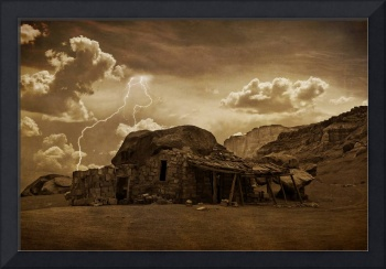 Southwest Desert Rock House and Lightning Strikes