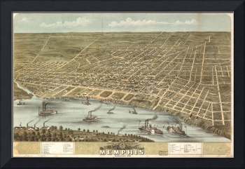 Vintage Pictorial Map of Memphis Tennessee (1870)