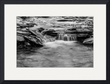 Conklin Gully Single Cascade in B&W by D. Brent Walton