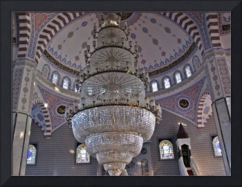The mosque and the chandeliers look