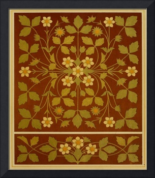 Vintage Leaf and Flower Brown Design Pattern