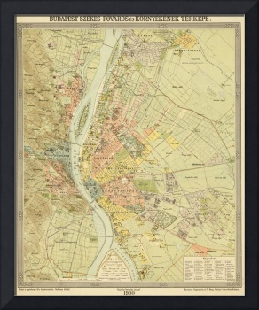 Vintage Map of Budapest Hungary (1900)