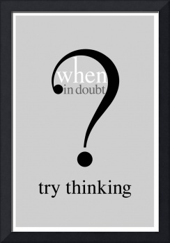 Humorous Text Poster - When In Doubt Try Thinking