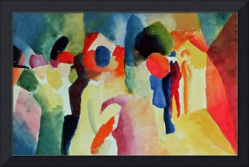 Woman with a Yellow Jacket by August Macke