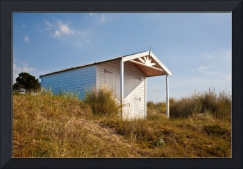 A beach hut in the Marram Grass at Old Hunstanton