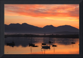 Sunrise At Roundstone Harbour With 12 Bens, Galway