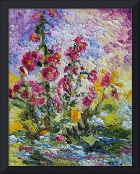 Pink Lavatera Impressionist Oil Painting