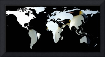 World Map Silhouette - Penguins