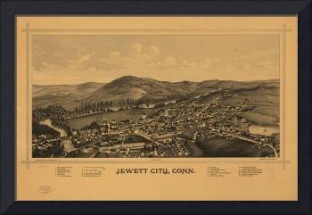 1889 Jewett City, CT Bird's Eye View Panoramic Map