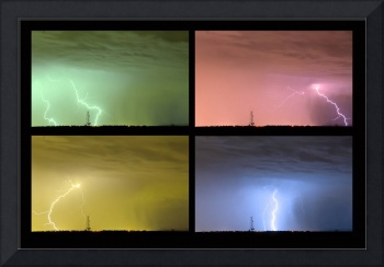 Colorful Lightning Thunderstorm Collage