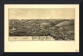 1886 South Acton, MA Birds Eye View Panoramic Map