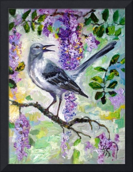 Mockingbird Song In Wisteria Modern Impressionism