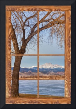 Longs Peak Winter Lake Barn Wood Picture Window