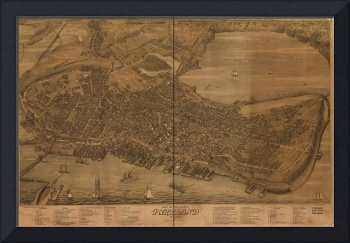 1876 Portland, ME Bird's Eye View Panoramic Map