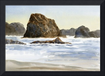 Beach with Waves and Rocks