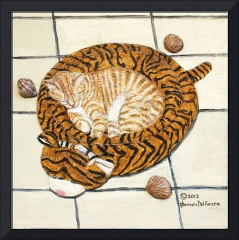 Tiger Kitty in Her Tiger Bed Painting