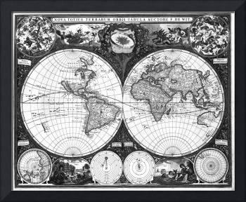 Black and White World Map (1665)