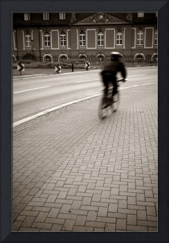 Cyclist on European Street