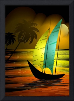 Beauty of the sail boat on the sea during sun set