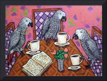 African Gray Parrot Friends at the Coffee Shop