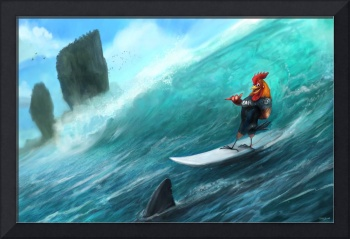 Surfing Rooster