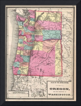 Vintage Map of Washington and Oregon (1872)