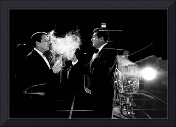 Frank Sinatra and Dean Martin on the set of Ocean'