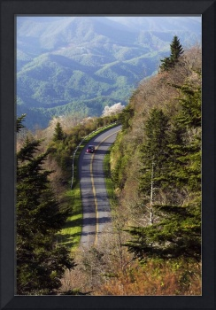 High angle view of car on Blue Ridge Parkway