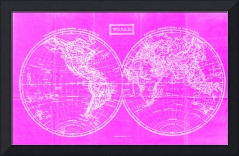 Vintage Map of The World (1857) Pink & White