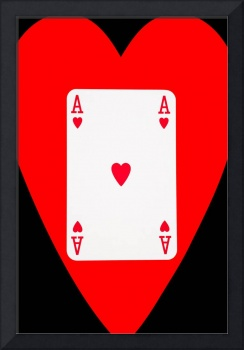 Playing Cards Ace of Hearts on Black Background
