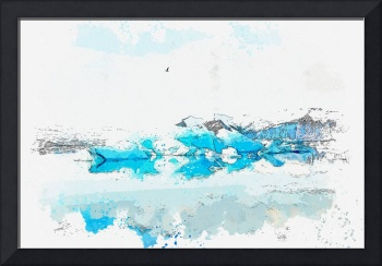 Iceberg, Jokulsarlon, Iceland watercolor by Ahmet
