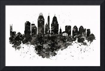 Cincinnati Skyline Black And White