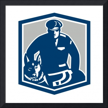 Canine Policeman With Police Dog Retro