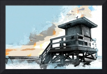 Weathered Life Guard Station at the Shoreline