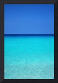 Calm Turquoise Ocean Water To Horizon, Clear Blue