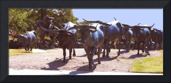 Longhorn Cattle Drive in bronze