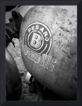 Vintage Benelli motorcycle gas tank