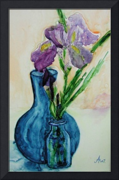 Blue Vases with Purple Iris 2007