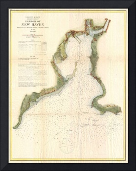 Vintage Map of New Haven Harbor (1872)
