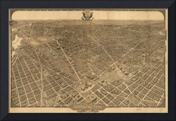 1921 Washington D.C. Bird's Eye View Panoramic Map