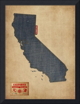 California Map Denim Jeans Style