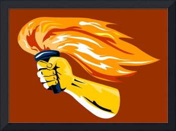 Hand Holding Burning Flaming Torch