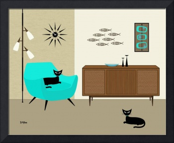 Fish Wall Art with Aqua Chair
