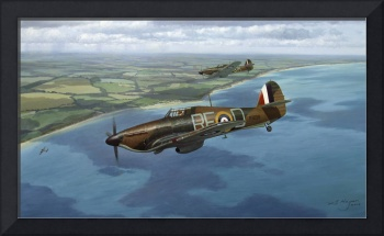 'The Chase' Hawker Hurricane aviation art painting
