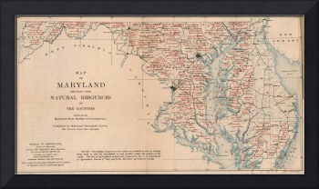 Vintage Agricultural Map of Maryland (1920)