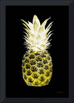 14N Artistic Glowing Pineapple Digital Art Yellow