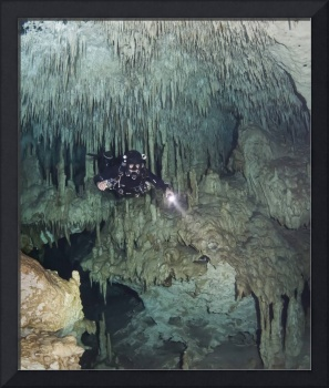 Technical diver in cave system, Mexico