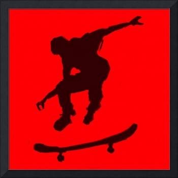 Skateboarder 3 .  red black (c)