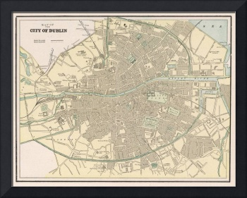 Vintage Map of Dublin Ireland (1901)