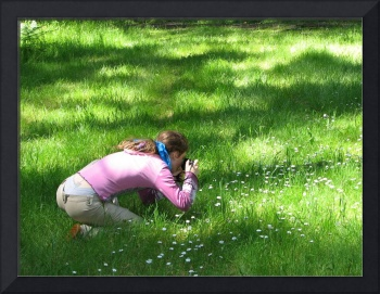 Girl Photographing Flowers
